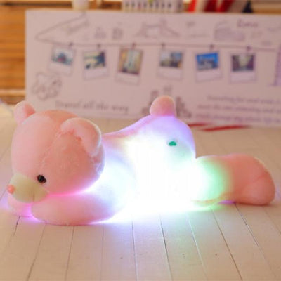 univers-peluche Rose Ours en peluche LED allongé
