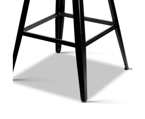 Marjorie Vintage 'HIGH' Bar Stool - Black & Timber (Industrial / Rustic)
