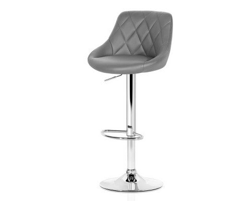 Lee Bar Stools - Padded Grey & Chrome - Set Of Two