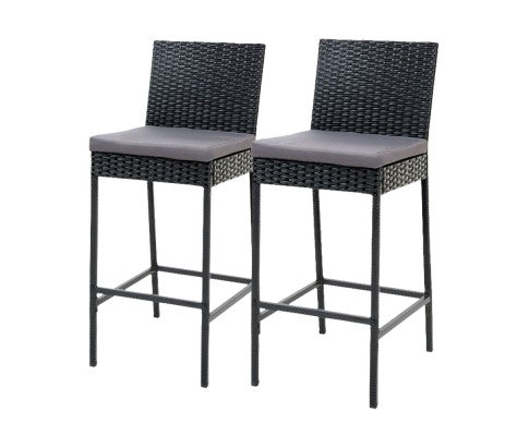 Bob Outdoor Stools - Black Wicker Grey Cushions - Set Of Two