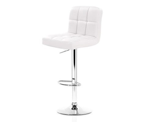 James Bar Stools - White & Chrome - Set Of Two  [LOW Stock ONLY 5]