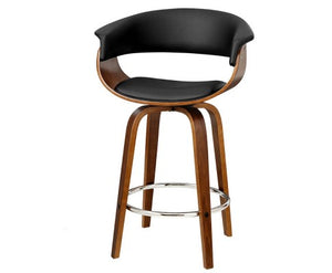 Watson Bar Stool - Black & Timber + Chrome Foot Ring [Currently OUT of Stock]