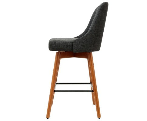 Moore Bar Stools - Charcoal & Timber - Set Of Two