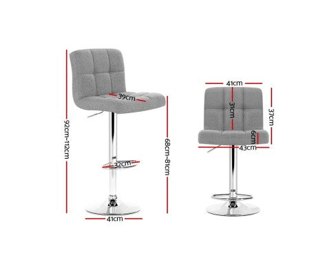 James Bar Stools - Padded Grey & Chrome - Set Of Two