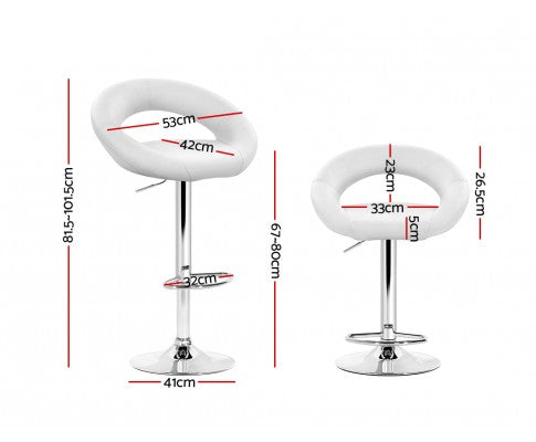 Perry Lift Bar Stools - White & Chrome - Set Of Two [Currently OUT of Stock]
