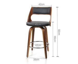 David Bar Stools PU 'Leather' LOW - Black & Timber - Set Of Two