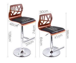 Hargraves Bar Stools - Black / Carved Timber / Chrome  - Set Of Two
