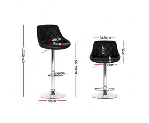 Lee Lift & Swivel Bar Stool - Padded Black & Chrome - Set Of Two