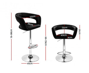 Flynn Bar Stool - Black & Chrome - Set Of Two