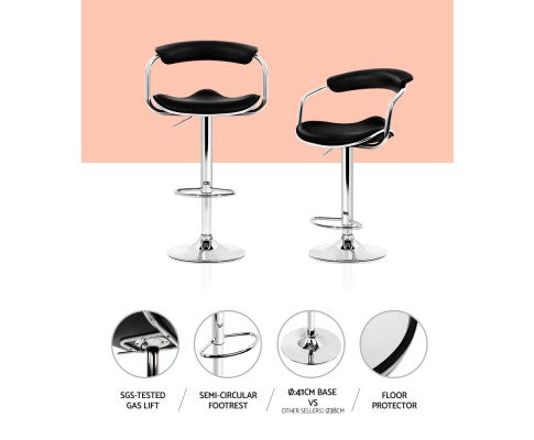 Abby Bar Stools - Black & Chrome - Set Of Two [Currently OUT of Stock]