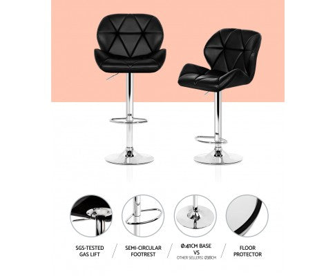 Phillips Bar Stools - Black on Black & Chrome - Set Of Two [Currently OUT of Stock]