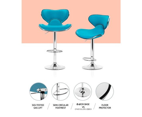 Clark Bar Stools - Teal & Chrome - Set Of Two [Currently OUT of Stock]