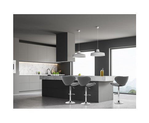 Clark Bar Stool - Grey & Chrome - Set Of Two [Currently OUT of Stock]