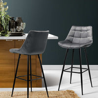 Raj Bar Stools - Grey Velvet & Steel (Set of Two)