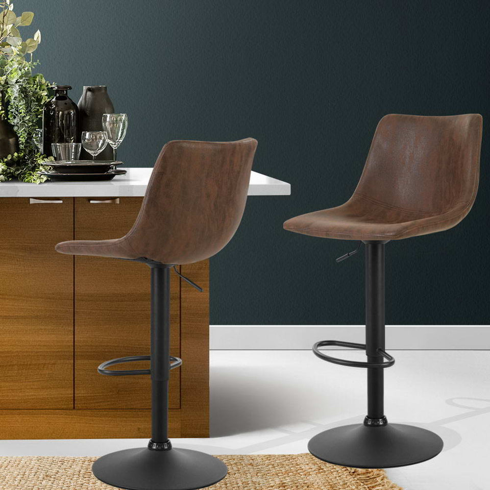 Makybe Bar Stools Lift / Swivel Vintage Leather Brown Powder Coated Legs (Set of Two)