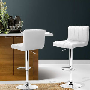 Adam Bar Stool - White & Chrome - Lift & Swivel Set of Two