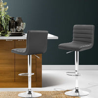 Harley Bar Stools Swivel / Lift Grey Leather & Chrome (Set of Two)