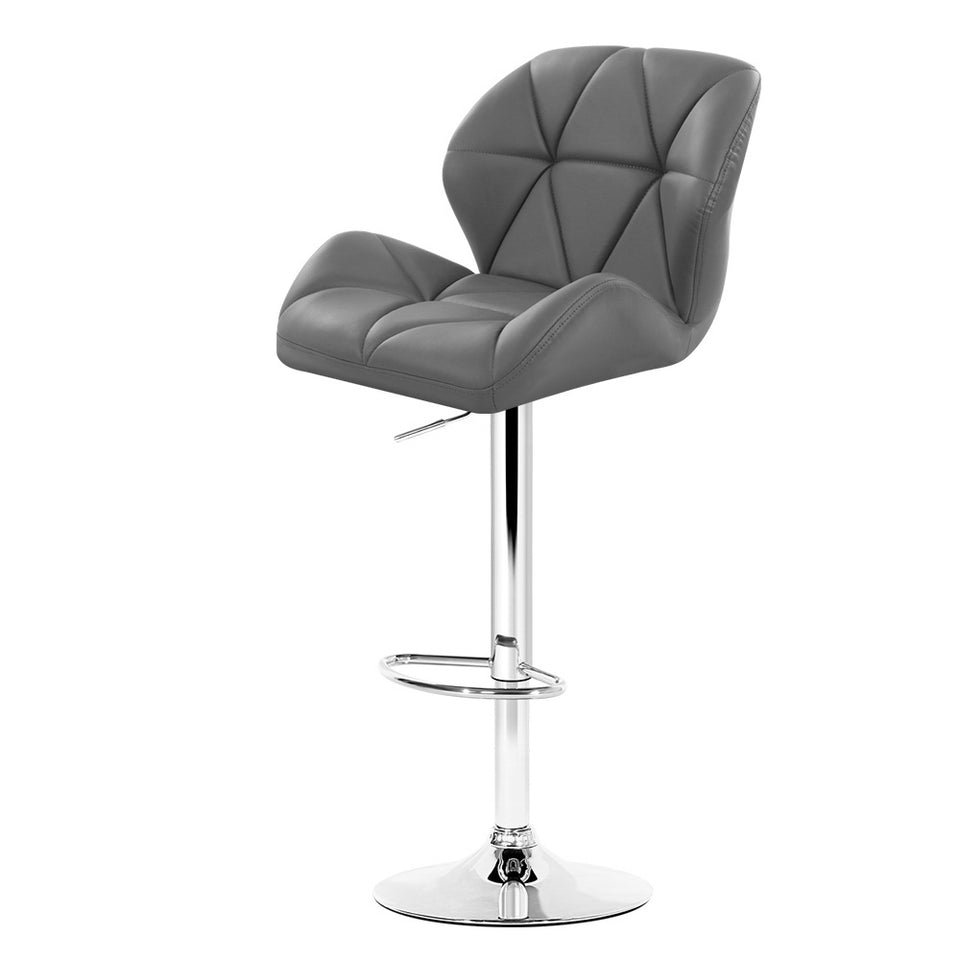 Phillips Bar Stools - Grey & Chrome - Set Of Two