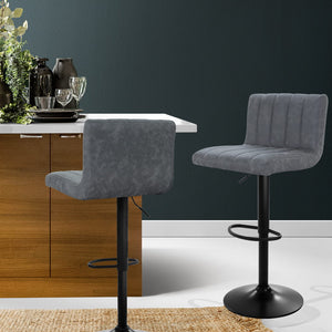 Adam Bar Stool - Grey & Powder Coated - Lift & Swivel Set of Two