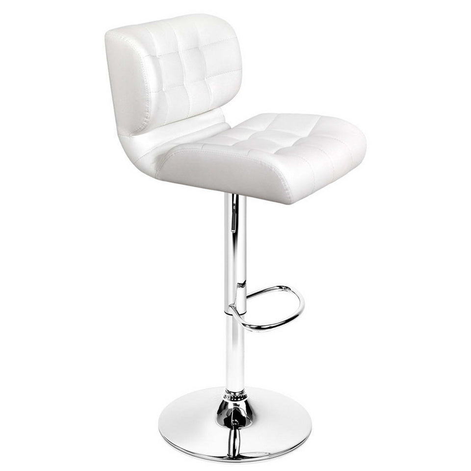 Emma Bar Stools - Padded White & Chrome - Set Of Two