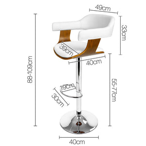 Kelly Lift Bar Stool - White, Timber & Chrome - Swivel  x 1 [EST. RESTOCK 02/11/02]