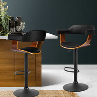 Quentin Bar Stool - Black Leather Timber & Powder Coated Steel [Currently OUT of Stock]