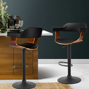 Kelly Bar Stool - Black Leather, Timber & Black Powder Coated [Currently OUT of Stock]