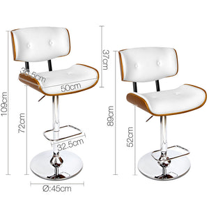McGrane Bar Stool - Padded White, Timber & Chrome - Lift & Swivel