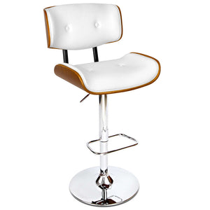 McGrane Bar Stools - Padded White, Timber & Chrome - Lift & Swivel [Currently Out Of Stock]