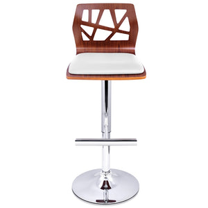 Hargraves Bar Stools - White / Carved Timber / Chrome - Set Of Two