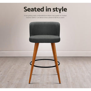 Adele Barstool (Set of Two) Timber & Charcoal [CurrentlyOUT of Stock]