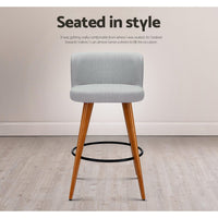 Adele Barstool (Set of Two) Timber & Lt. Grey [LOW Stock ONLY 1]