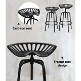 Troy Tractor Barstool - Black Metal  (Vintage / Industrial / Rustic) [Currently OUT of Stock]