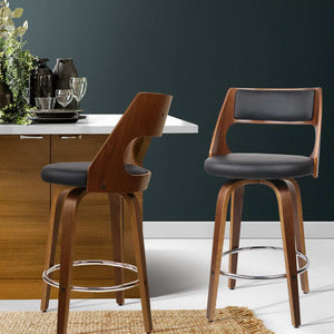 David Bar Stools PU 'Leather' HIGH (103cm) - Black & Timber x 2 [Currently OUT of Stock}