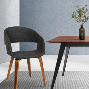 Amira Timber & Fabric Dining Chairs - Dark Charcoal (Set of Two)