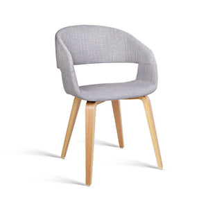 Amara Timber & Fabric Dining Chairs - Light Grey (Set of Two)