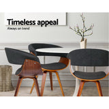 Sean Timber Wood and Fabric Dining Chair - Charcoal