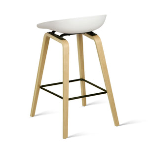 Elvis Bar Stools - White & Timber - Set Of Two