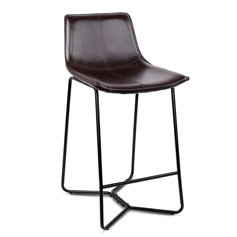 Artiss Set of 2 PU Leather Bar Stools - Metal Black