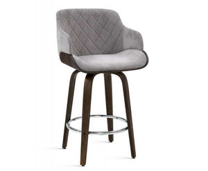 Jon Plush Barstool - Grey Velvet & Dark Timber - Swivel