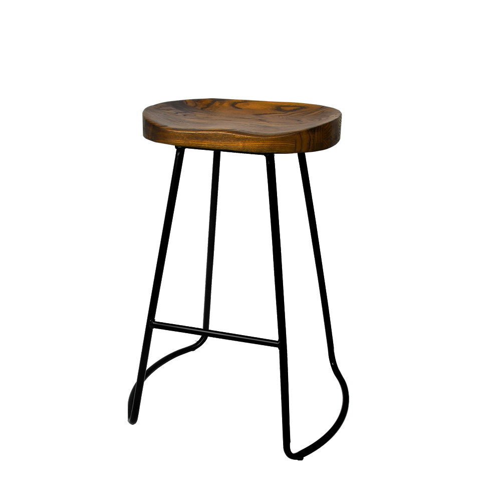 Noah Bar Stools 'SHORT' - Black & Dk, Natural Timber - Set Of Two