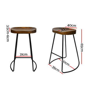 Tractor Bar Stools - Black - Set Of Two