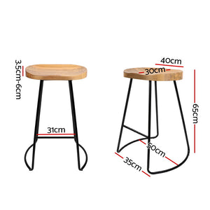 Noah Bar Stools 'SHORT' - Black & Lt.  Natural Timber - Set Of Two