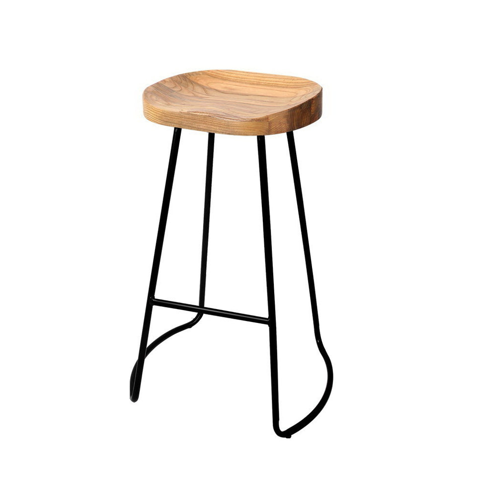 Noah Bar Stools 'HIGH' - Black & LT. Timber - Set Of Two