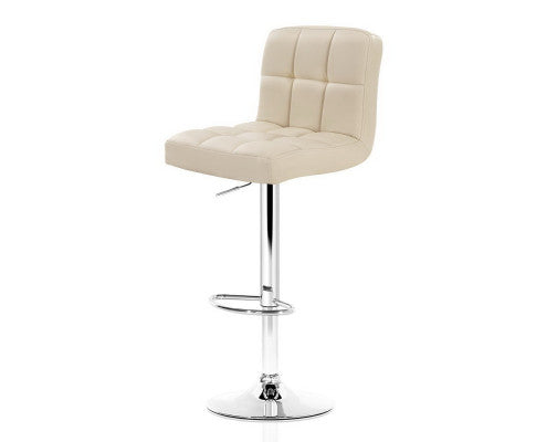 James Bar Stools - Beige & Chrome - Set Of Two [Currently Out Of Stock]