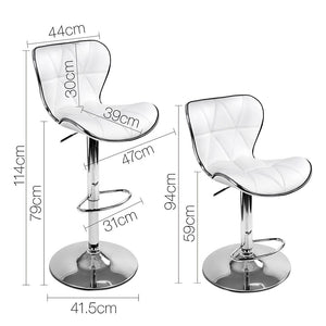 Owen Bar Stools - Padded White & Chrome - Set Of Two