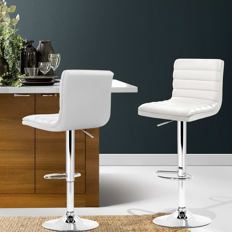 Iris Bar Stools - White & Chrome - Set of Two [LOW Stock ONLY 1] (PDL)