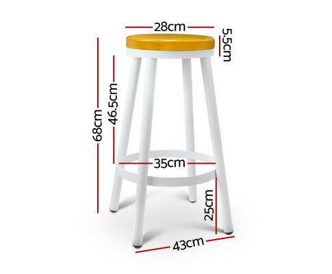 Henry Stackable Bar Stools - White - Set Of Two