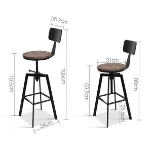 Bennett Bar Stool - Black & Steel (Industrial)