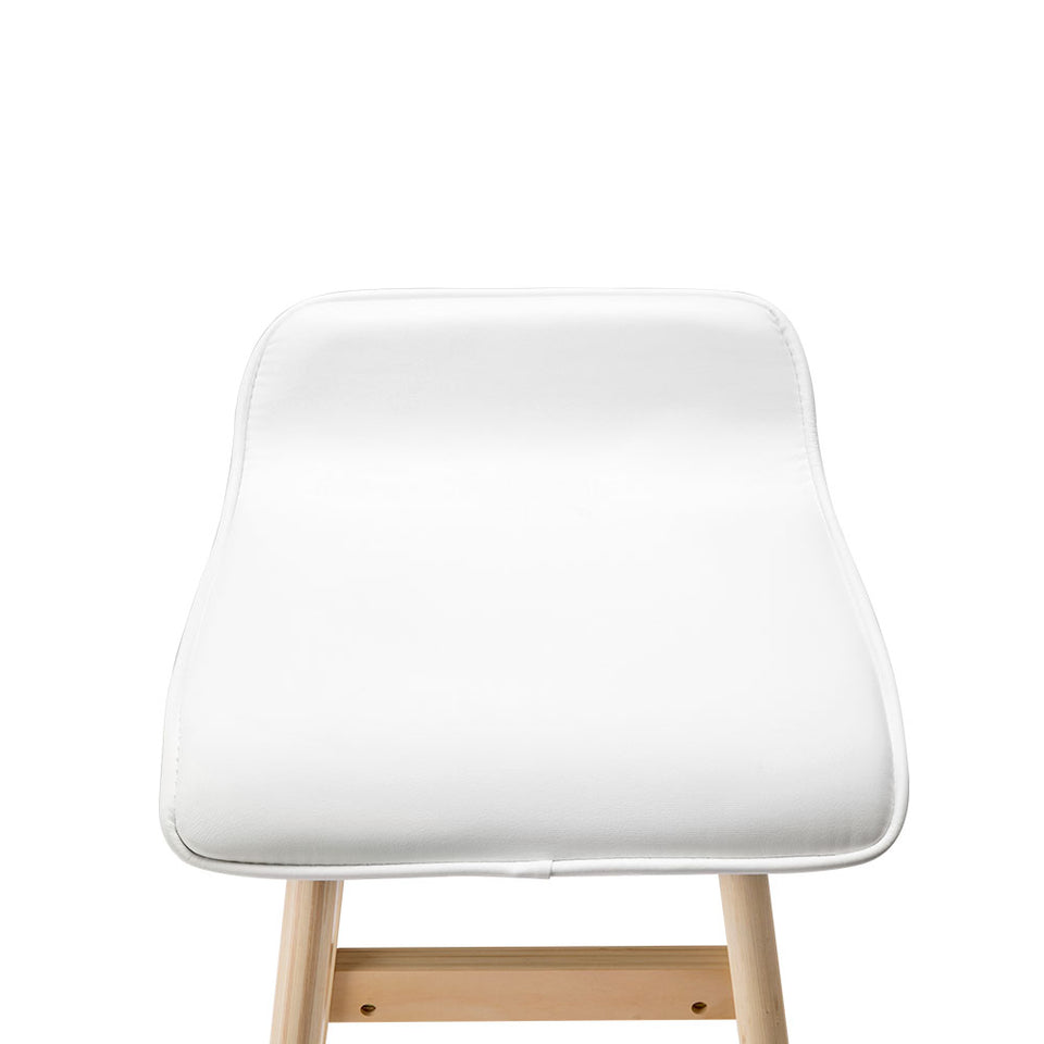 Trudy Bar Stool - White & Lt. Timber - Set Of Two [Currently OUT of the Stock]